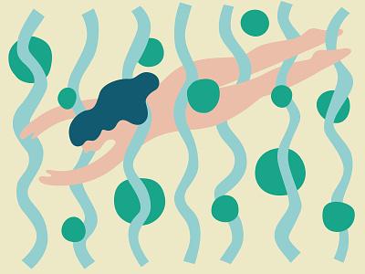 Summer Swim woman swimmer vector illustration