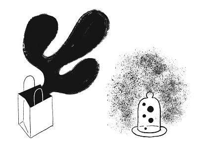 Fantastical Gifts - Out of the Bag + Bell Jar Bubbles blob bag ipadproart handdrawn illustration