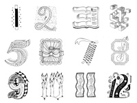 Numbers by the Dozen 12 11 10 9 8 7 6 5 4 3 2 1 numbers sketches handdrawn lettering