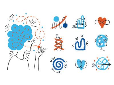 ali shapiro icons icon psychology heart graph woman hand drawn illustration