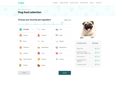 Page of selection of food for dogs