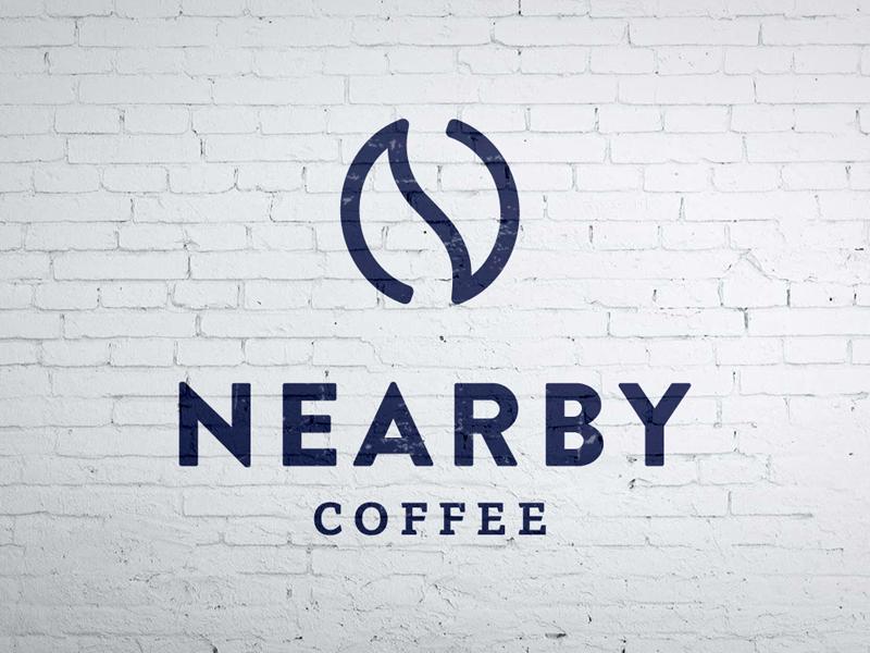 Nearby Coffee brick wall beans coffee shop sans serif serif brandon logo coffee nearby
