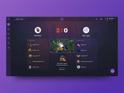 Match screen design for esports website