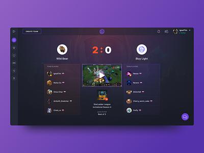 Match screen design for esports website leage of legends dota 2 dota dota2 web tournament sports matches gaming game esports esport ui  ux ui dark cybersport