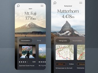 #1 Hiking-the-hills 🥾| 99+ Days in the Lab figma mountain japan dark lab condition hiking web translucent tiles navigation switzerland typography branding mobile