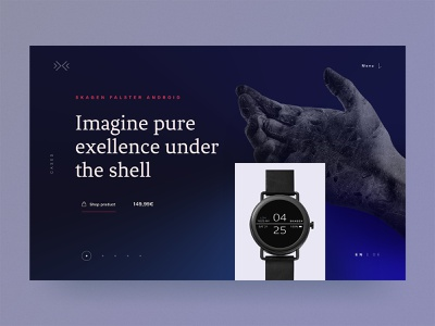 #7 SKAGEN Danish excellence 🇩🇰 | 99+ Days in the Lab marble hand gradient blue time hero landingpage ecommerce shop ecommerce clock watch desktop excellence denmark danish