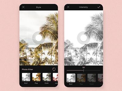 #12 Unsplash Retro Mobile 📷🌴 | 99+ Days in the Lab dark ui sketch photography beach dark mobile app retro photo camera mobile filter