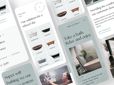 #25 Bath & Relax 🛀 | 99+ Days in the Lab bathtube products page ecommerce products design system relax bath branding board typography mobile