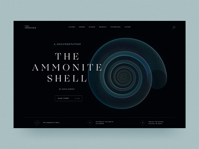 #26 The Cronicle 🗞️   99+ Days in the Lab navigation slider nature shell desktop hero moody illustrator spiral ammonite fossil newspaper cronicle news
