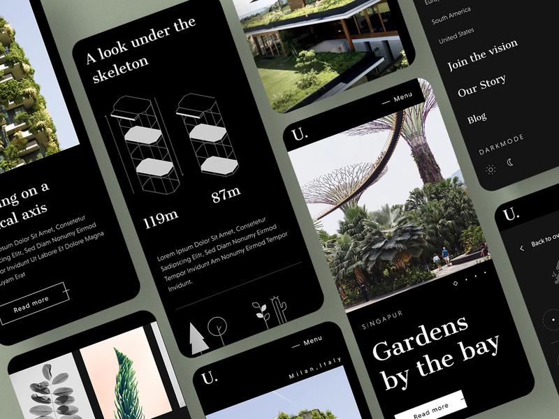 #34 Urban Botanic Mobile 🌳| 99+ Days in the Lab figma specifications building estate green organic botanic urban dark theme dark atomic design system mobile