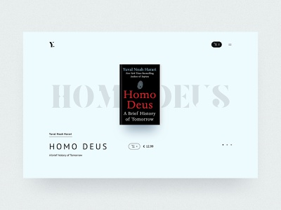 #49 Yuval Harari Homo deus 📚 | 99+ Days in the Lab typogaphy minimal elegant website slider desktop porfolio blue harari author book