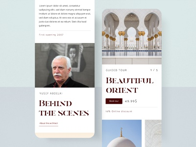 #53 Mosque Mobile 🕌 | 99+ Days in the Lab mobile design article architecture booking price elegant typogaphy label mosque scroll mobile