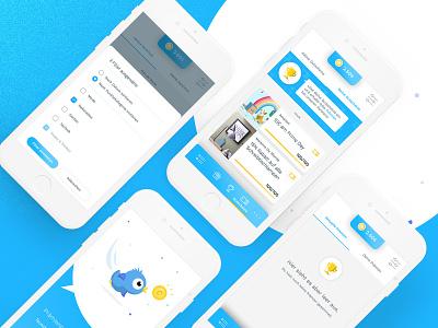 Tweety 2.0   Feed + Navigating angle phone celebrate gift coin blue bird blue mobile app tweety tweet