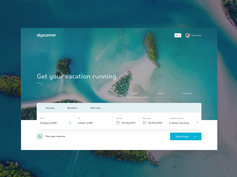 skyscanner, get your vacation running ✈️ 🌴   Concept