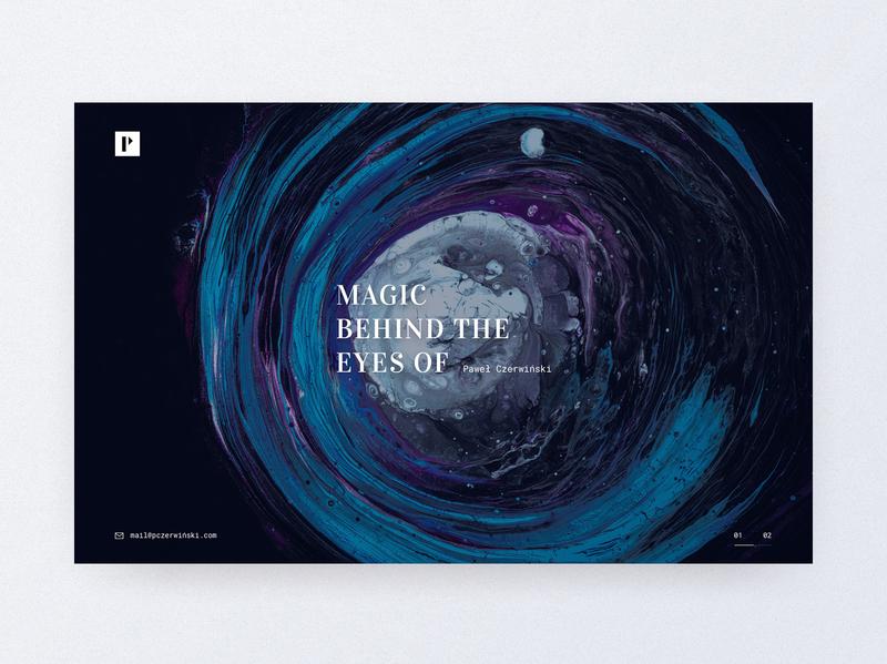 Photograph portfolio page of Paweł Czerwiński 📷 photo cologne design serif font serif typography moddy website unsplash branding landingpage desktop blue