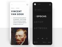 Vincent Van Gogh / Art Gallery Mobile 🎨 scroll dark menu typography museum gallery vangogh vincent education mobile art