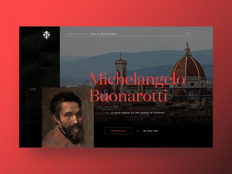 Michelangelo Buonarroti | City of Florence ⚜️ dark ui dark italy grid typographic cologne typography serif florence renaissance michelangelo red landingpage