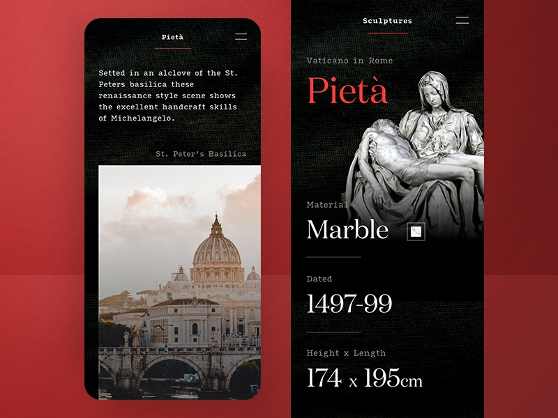 Michelangelo Buonarroti |  City of Florence ⚜️ marble sculpture vaticano mobile typography serif red dark cologne grief pieta rome florence