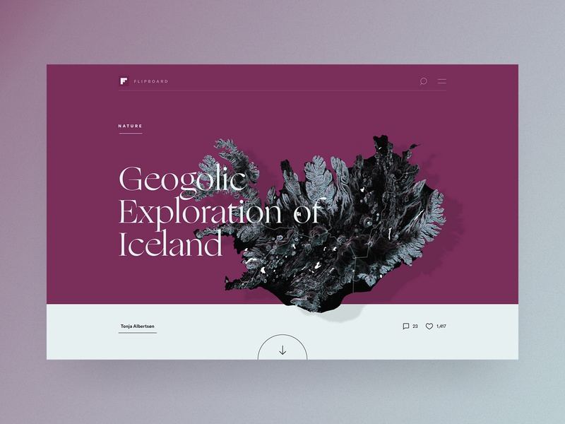 Icelandic Explorer 🇮🇸 | Editorial concept for Flipboard typography cologne purple rendering terrain mapbox desktop magazine editorial north scandic scandinavian island iceland