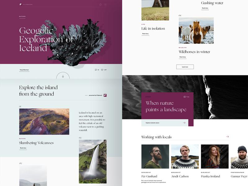 Icelandic Explorer 🇮🇸 | One Pager storytelling typography desktop scandic purple hero scroll onepage explorer iceland cologne