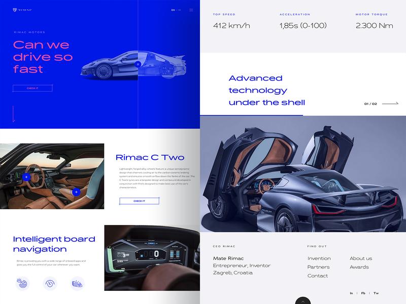 Rimac Automotive Concept | 🏎️ website design speed website concept blue desktop typography car croatia cologne rimac automotive