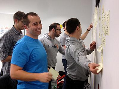 External brain (Hubspot design team) working design sticky whiteboard