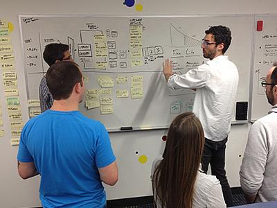 Using stories to scope design (Hubspot design team) story design working whiteboard