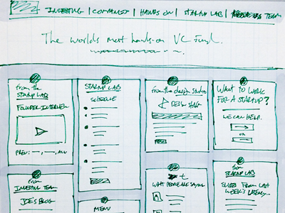 Wireframe sketch for Google Ventures homepage