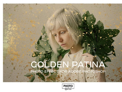 Golden Patina Photo Effect template yellow presets pattern overlay foil filter frame design dust brushes textures styles color photoshop photo effect patina golden gold