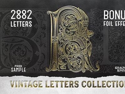 28 IN 1 VINTAGE LETTERS COLLECTION corel draw gravure alphabet foil paper texture photoshop effect vector black celtic gothic retro eps png book collection vintage letters