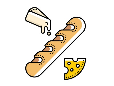 Baguette and french cheese icons french food illustration vector logotype lines linear french bread cheese icon