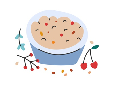 hand drawn illustration of porridge bowl doodle naive flat cartoon breakfast healthy flakes cereal granola bowl porridge cute hand drawn icon vector illustration
