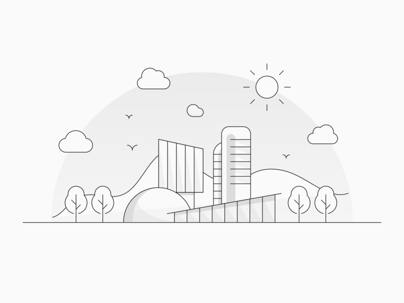 Office Illustration work icon iconography workspace black and white lines linework line art lineart line geometric office minimal geometry design space white black illustration dribbble