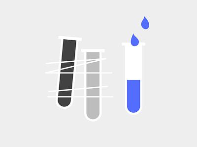 Iteration white gray blue redesign laboratory lab test tube testing usertesting user test iterative iterate iterations iteration design geometry minimal dribbble illustration