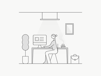 Home Office line art lines linework lineart line icons icon iconography home office workspace geometric office geometry space minimal white black illustration design dribbble
