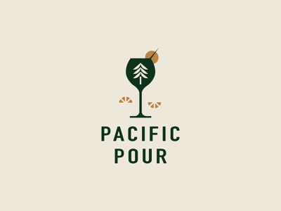 Pacific Pour logodesign bartender drinks cocktails tree westcoast logo bartending