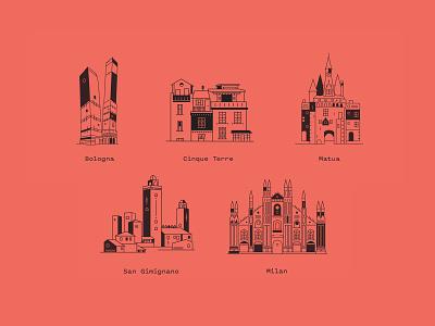 Italy Icon buildings lineicon milan bologna matua sienna icon illustration design