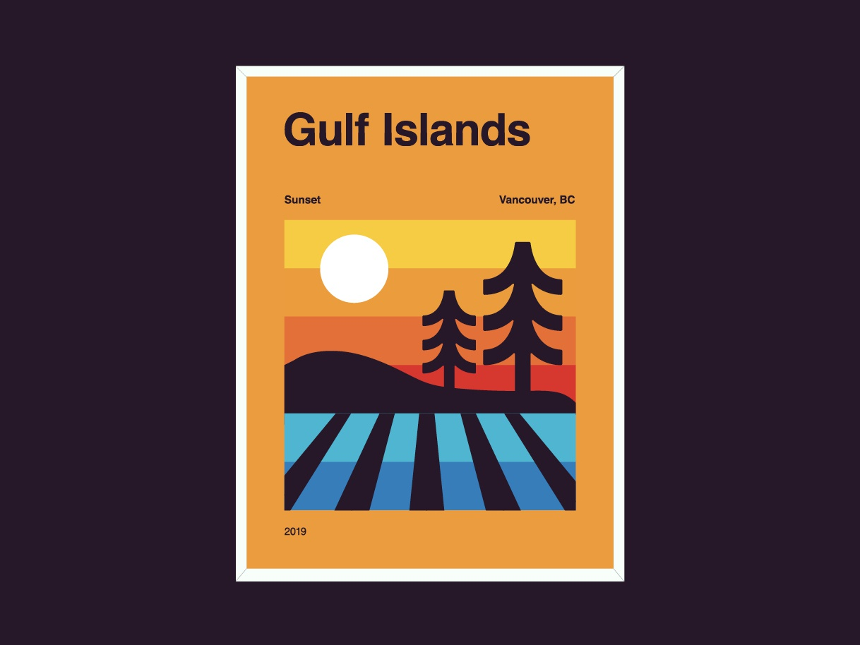 Gulf Island Sunsets badge design gulfisland west coast ocean trees shapes colour poster badge sunset british columbia vancouver illustration logo