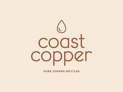 Coast Copper waterdrop copper waterbottle water logo branding design