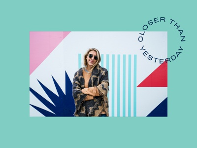 Closer Than Yesterday Mural typography miami southbeach palmtrees shapes geometric illustration vancouver patterndesign mural