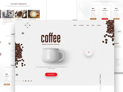 Coffee - landing page e-commerce drinks homepage ux ui landing page resturant