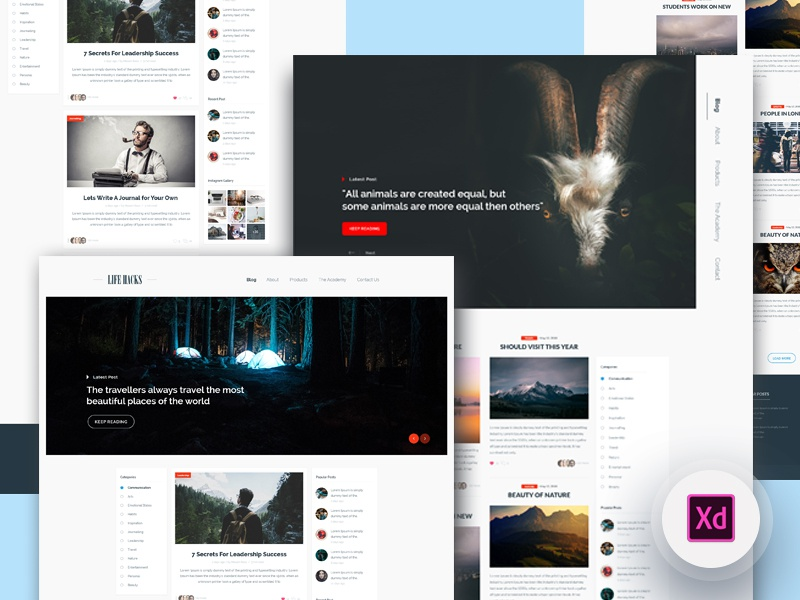 Freebie - 2 Blog Homepage landingpage homepage blog freebie xd