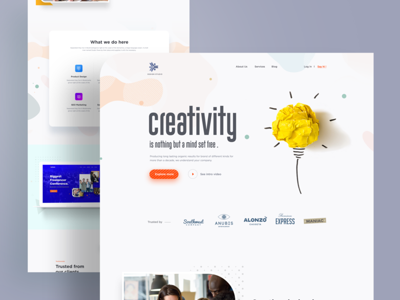 Landing Page l Exploration product page webdesign exploration digital marketing agency ios visual design creative mockups agency minimal clean ui ux ui homepage trendy design 2019 trend landing page app design landing  page marketing agency
