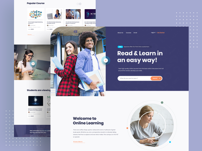 Online learning - Landing page Exploration online learning platform online learning online education landing  page landing page 2019 trend trendy design homepage ui ux clean ui minimal agency mockups creative visual design ios exploration webdesign product page