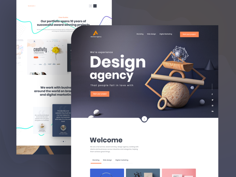 Design Agency  I  Landing Page Exploration c4d product design web design ios visual design dailyui creative mockups agency minimal clean ui ux ui homepage trendy design 2019 trend landing page app design landing  page design agency