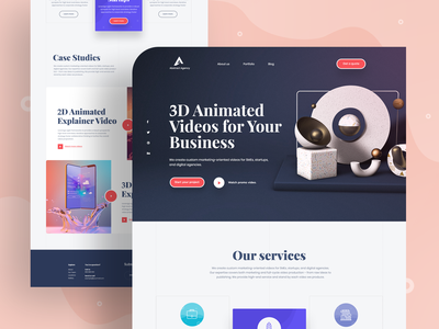 Landing Page Exploration design agency landing  page app design landing page 2019 trend trendy design homepage ui ux clean ui minimal agency mockups creative dailyui visual design ios web design product design c4d