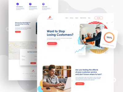 Consulting Agency - Landing page exploration design agency digital marketing agency landing  page app design landing page 2019 trend trendy design homepage ui ux clean ui minimal agency mockups creative dailyui visual design ios web design product design