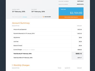 Invoice Designs price summary tables list dark orange blue print paper design invoice