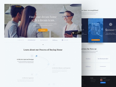 Real-estate Landing Page real-estate footer illustrations proof testimonials comparison animation sell house homepage page landing
