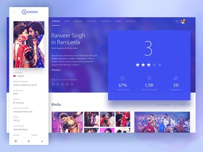 Cinimi: A movie page detail webdesign design ui ux blue colorful redesign rating page detail movie